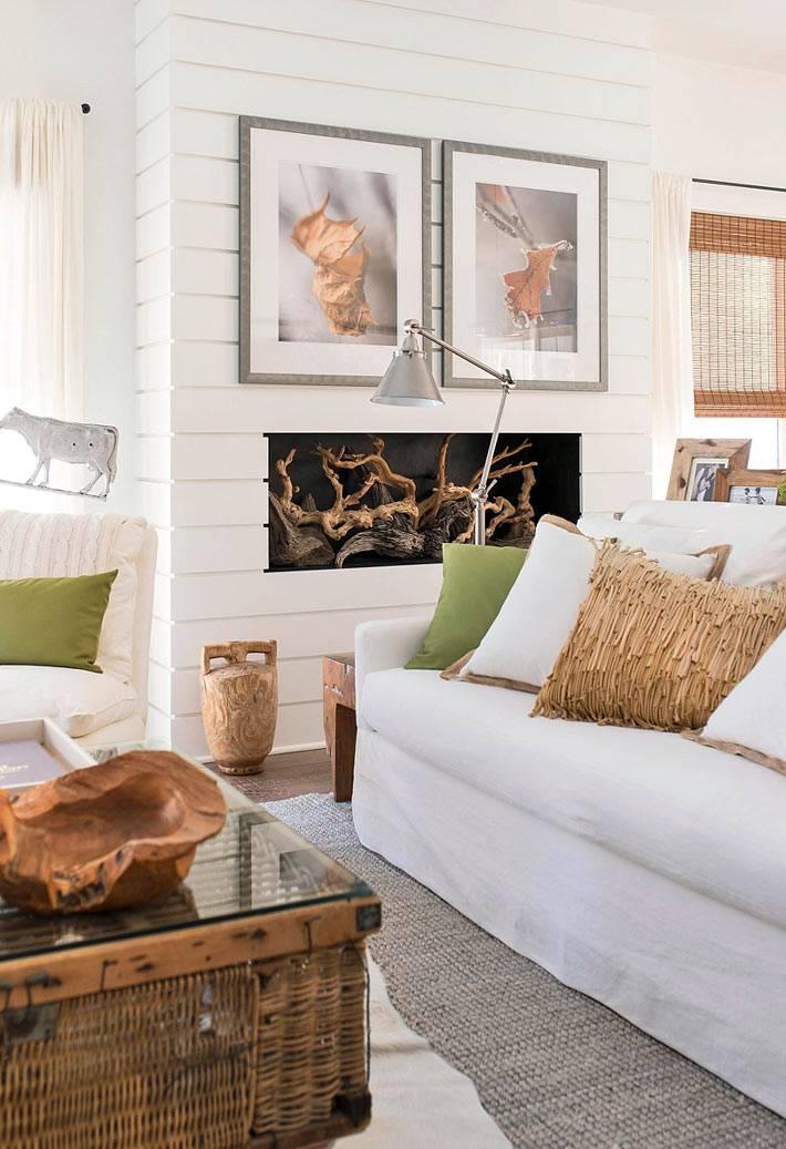 красивый дизайн интерьера дома в эко стиле