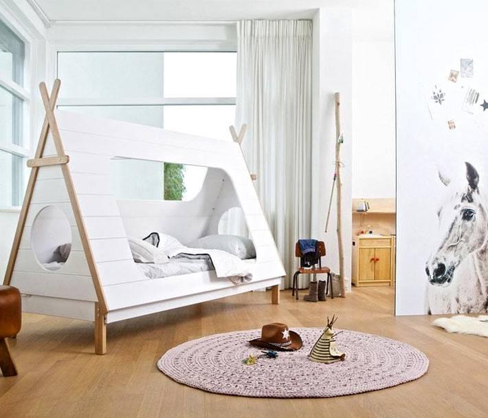 кровать-вигвам для мальчика в детской комнате