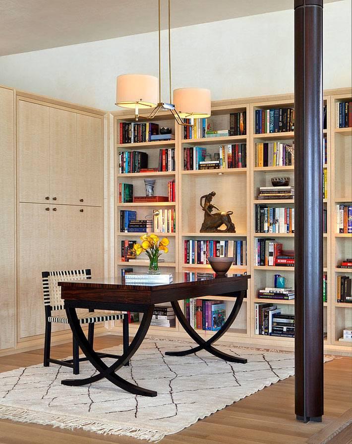 рабочая зона с библиотекой в интерьере дома фото