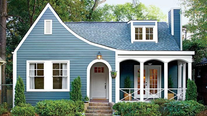 синий цвет фасадной краски фото
