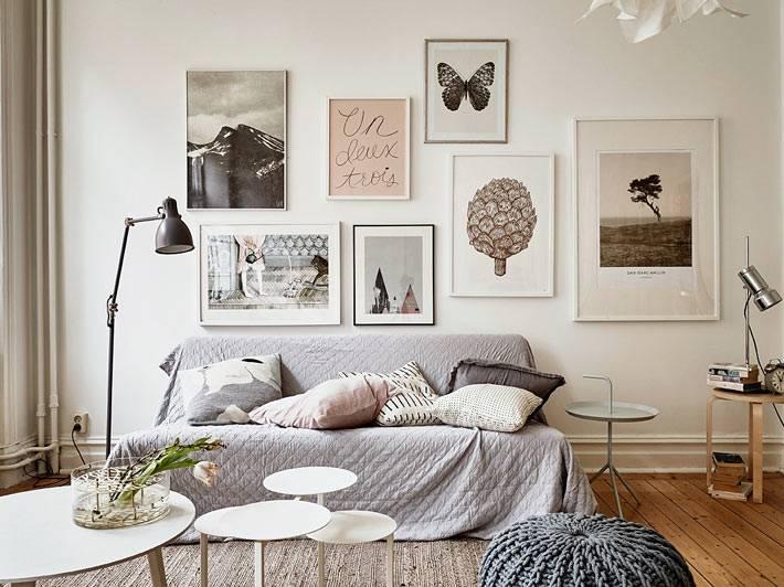 пастельные картины на стене квартиры
