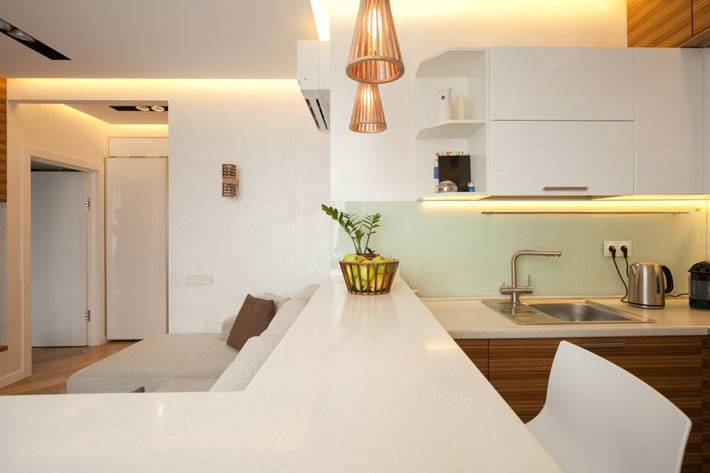 кухня совмещенная с гостиной в однокомнатной квартире
