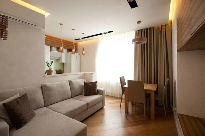 гостиная комната вместе с кухней в однококмнатной квартире