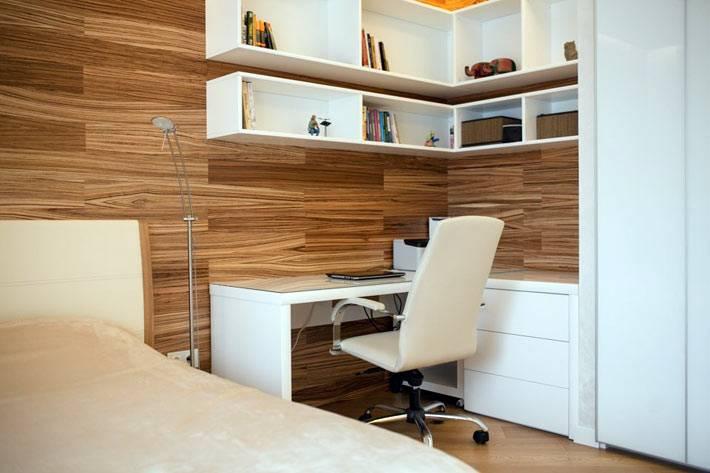 интерьер спальни с рабочим местом фото