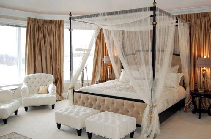 балдахин, оббивка мебели, белый цвет для романтической спальни