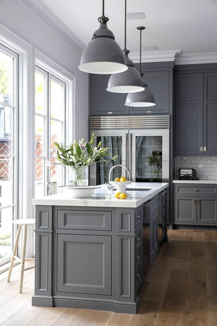 Кухни дизайн серого цвета