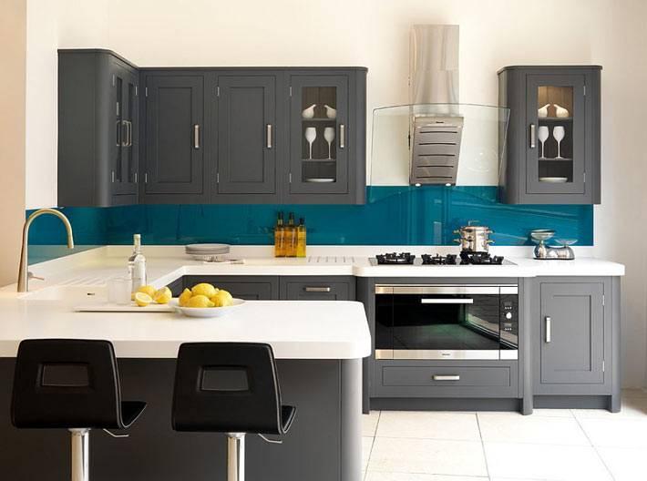кухни серого цвета, дизайн интерьера