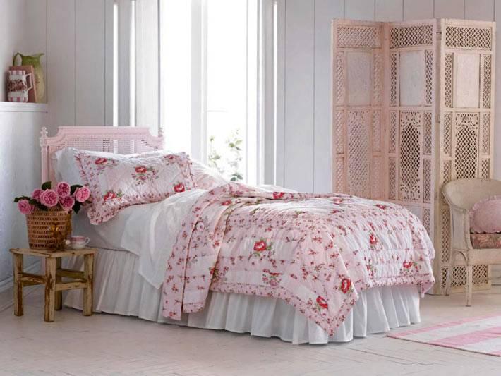 ретро декор для спальни в стиле шебби-шик фото