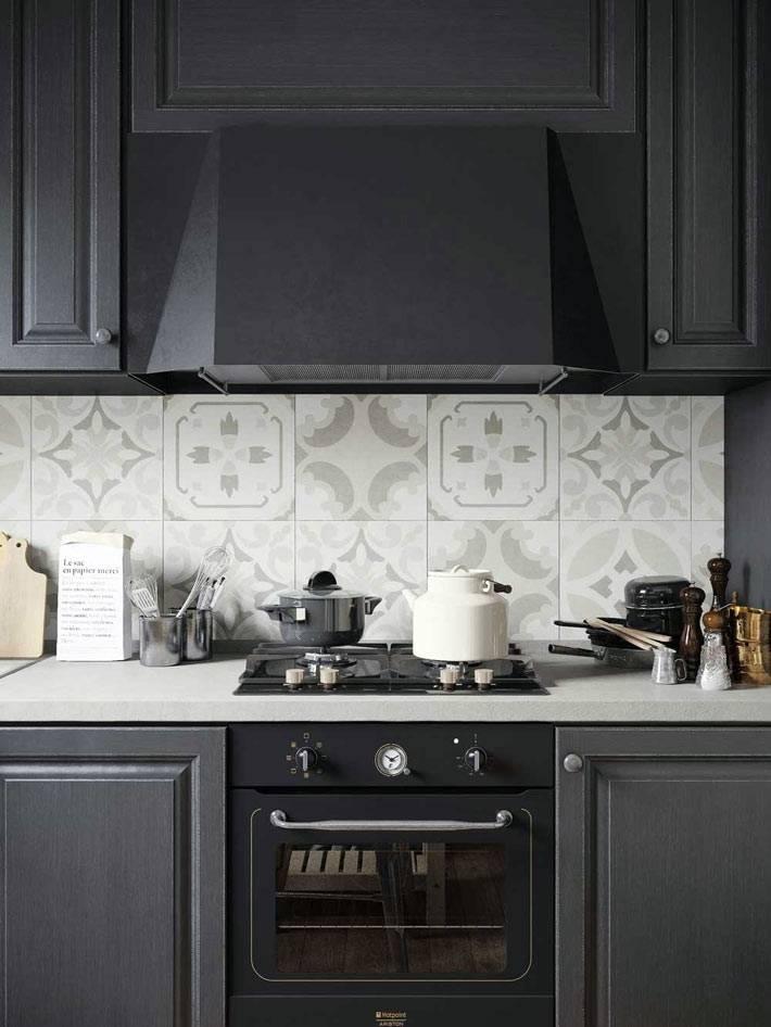 черный цвет на кухне, фото интерьера