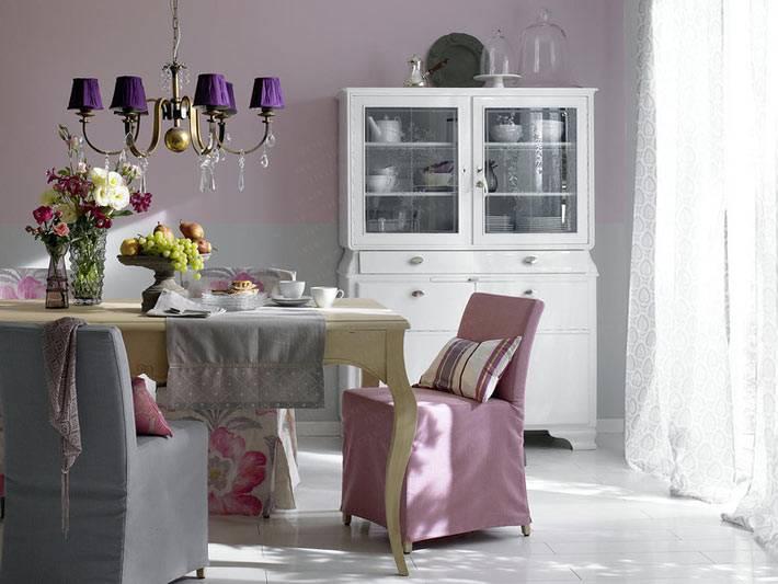 все оттенки фиолетового в интерьере столовой фото