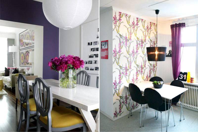 фиолетовый декор столовой комнаты фото