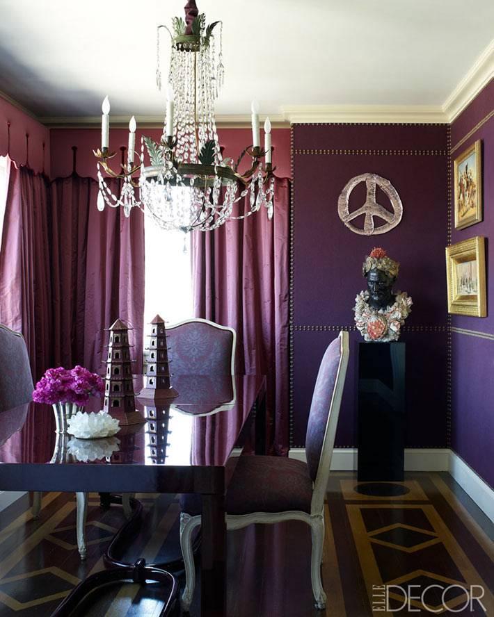 все оттенки фиолетового в дизайне столовой комнаты