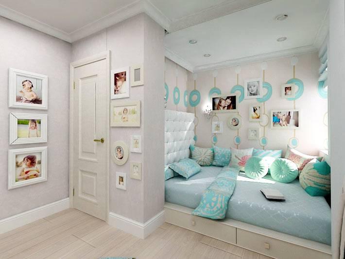 светлые пастельные тона в интерьере комнаты подростка