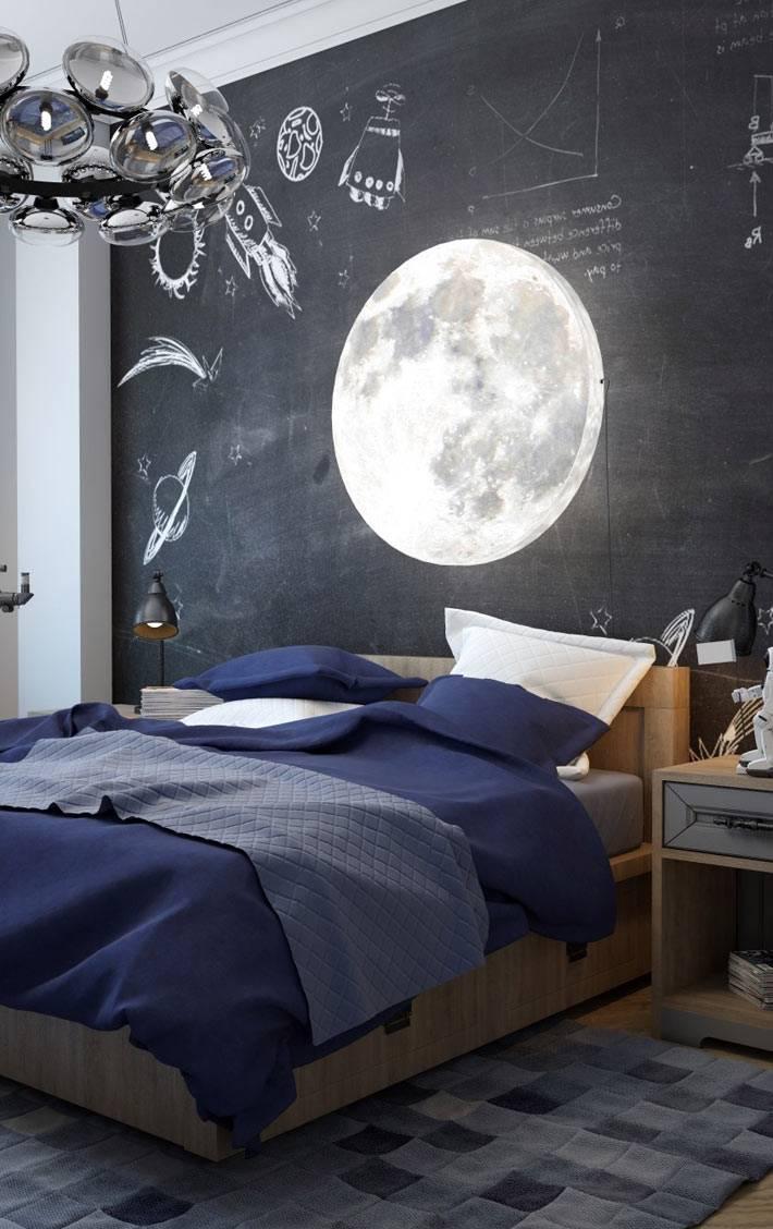 тема космоса в интерьере комнаты подростка фото