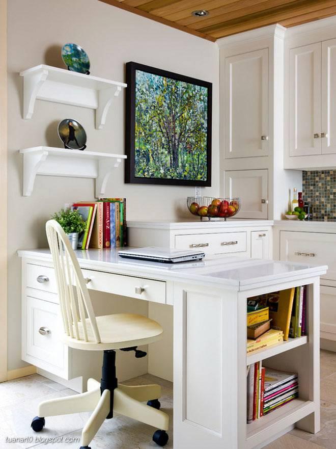 рабочий стол с компьютером на кухне