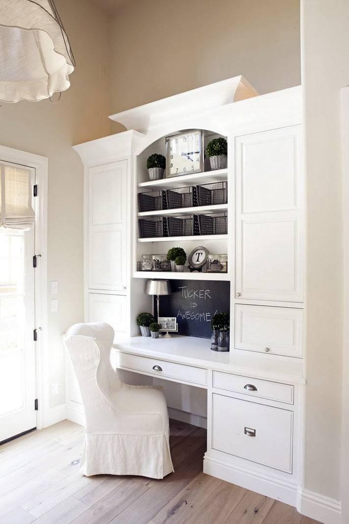 белая мебель для рабочего стола на кухне