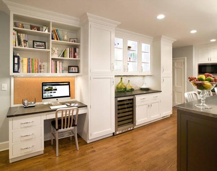 дизайн кухни с небольшим домашним офисом