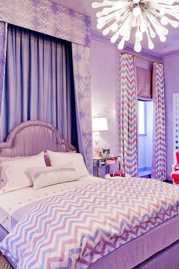 фиолетовый цвет в дизайне спальни фото