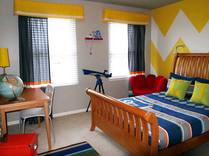 дизайн комнаты для подростка с узором зигзаг