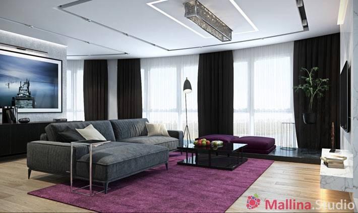 просторная гостиная комната. дизайн Малина студио