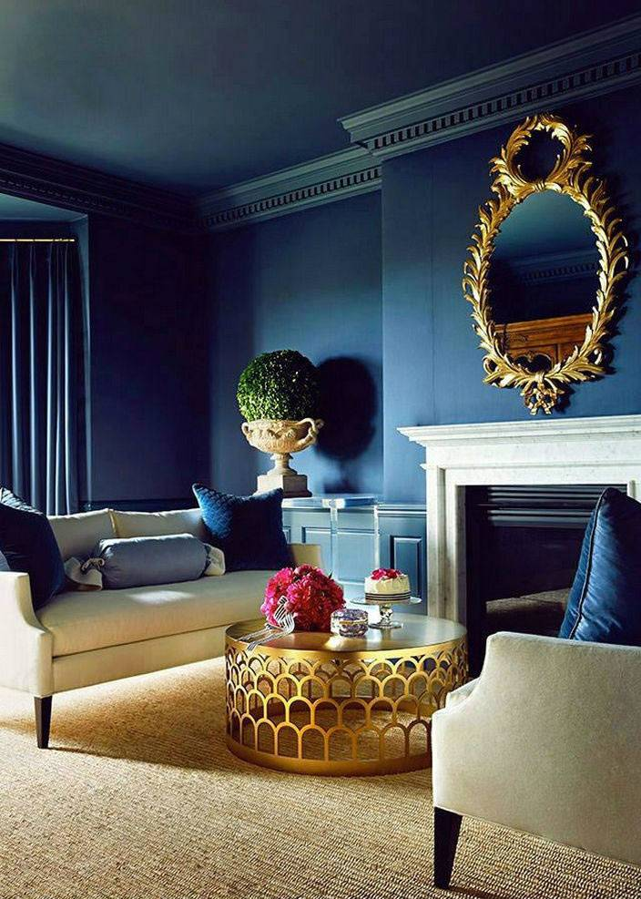 красивый темно-синий цвет стен в интерьере