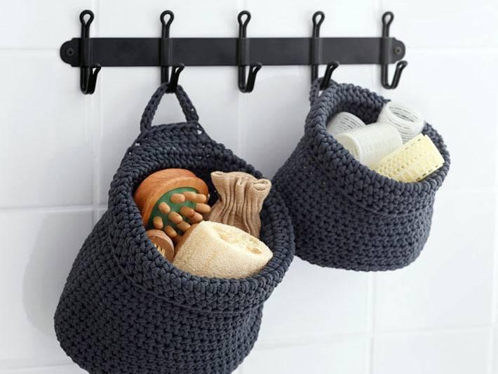 вязанные кошелки для хранения банных принадлежностей