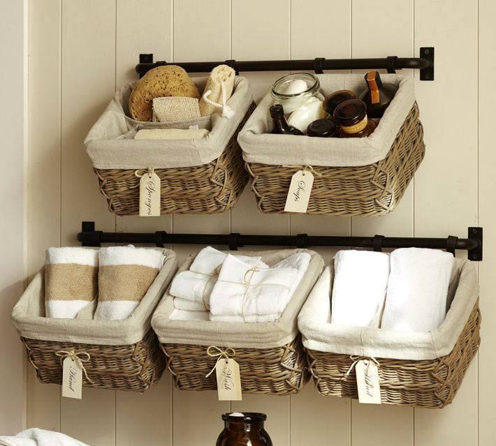 плетеные корзины для хранения в ванной комнате