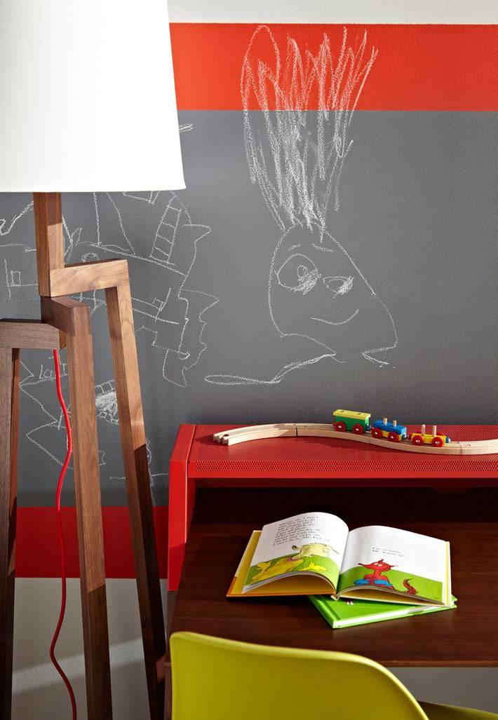 грифельная стена в интерьере детской комнаты