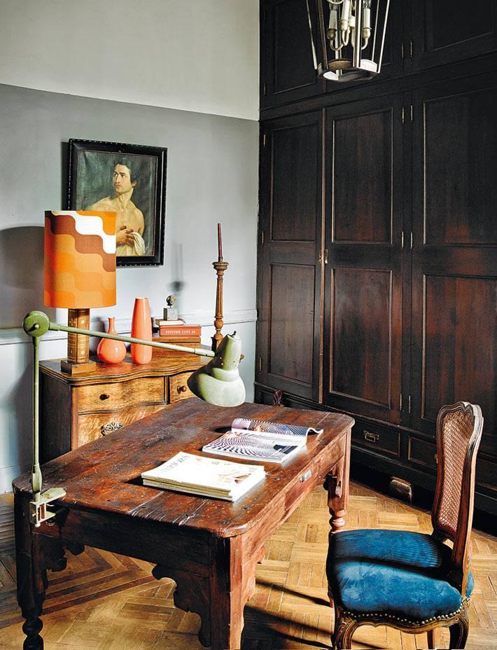 интерьер рабочего кабинета с винтажной мебелью