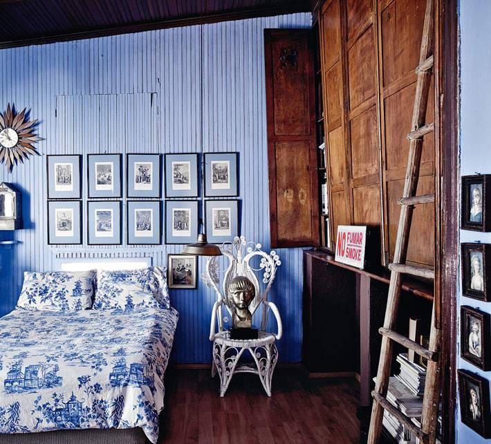 голубой цвет в интерьере спальни фото