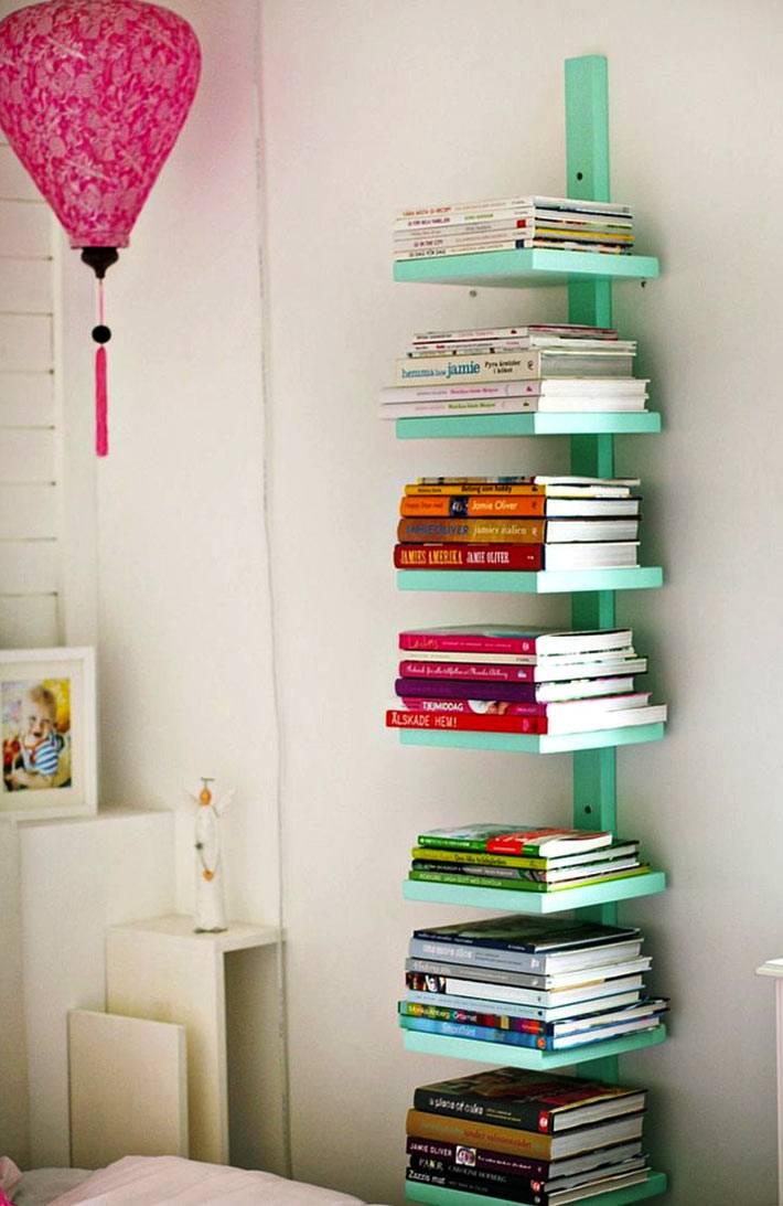 зеленый мини-стеллаж для хранения кулинарных книг