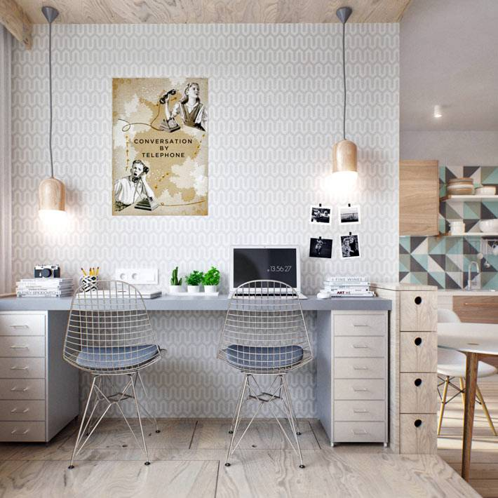 светлый офис домашнего кабинета