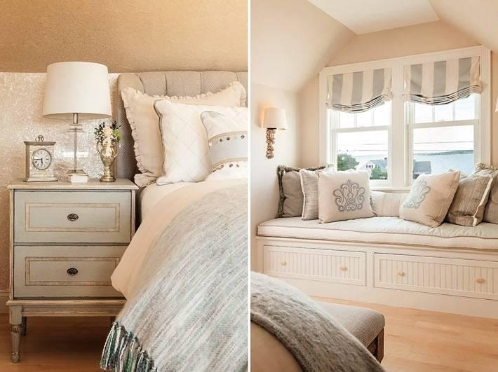 красивая спальня в бежевом цвете