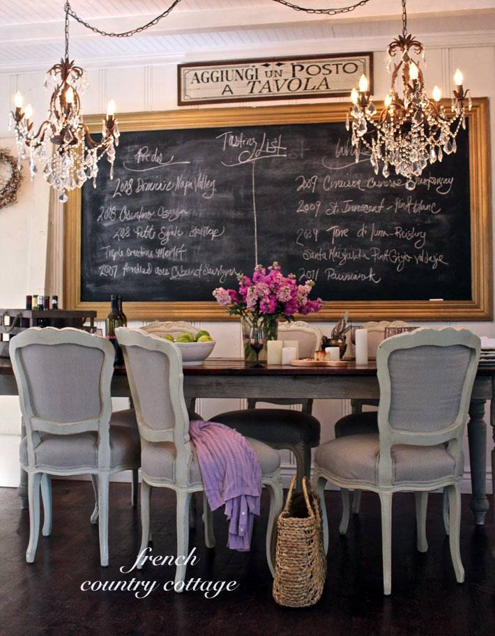красивый интерьер столовой с грифельной доской для записей меню