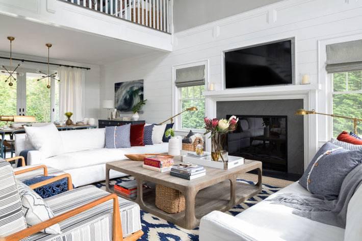 красивый интерьер гостиной комнаты с высоким потолком фото