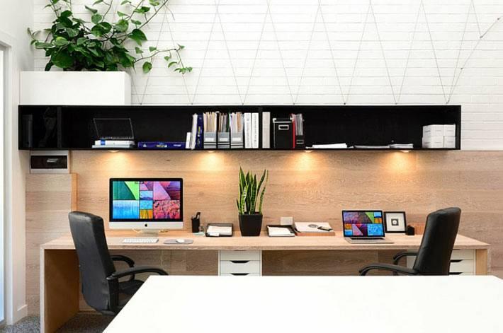 кабинет с отделкой из дерева фото
