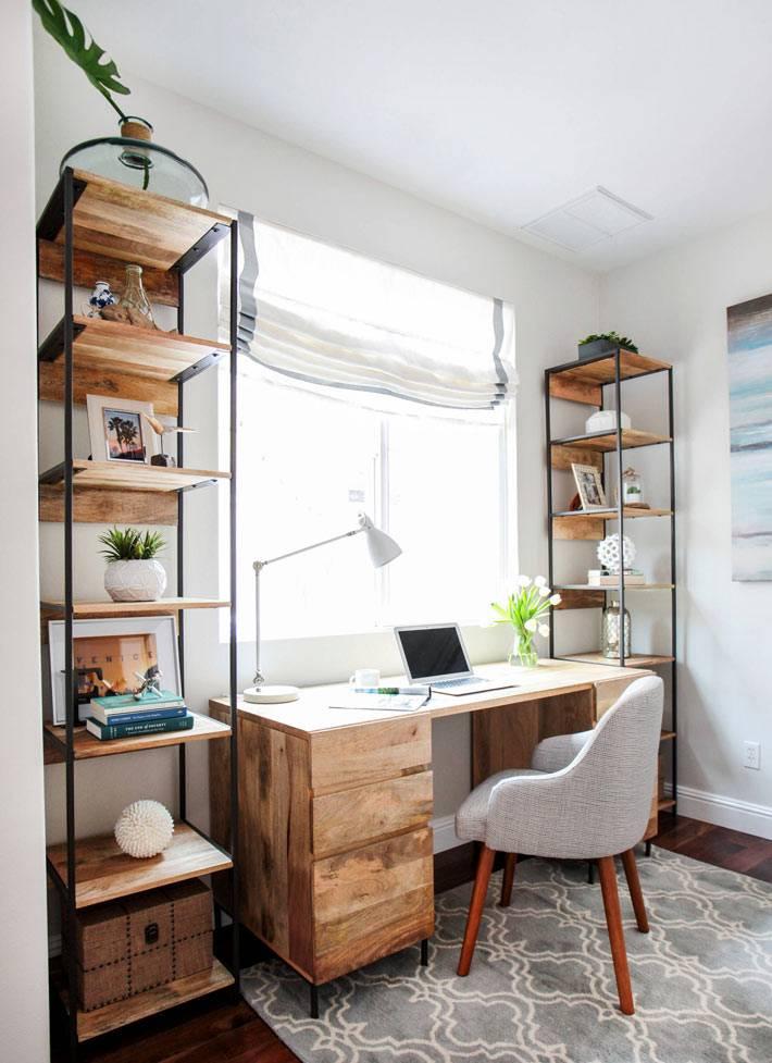 деревянная мебель в дизайне рабочего кабинета фото