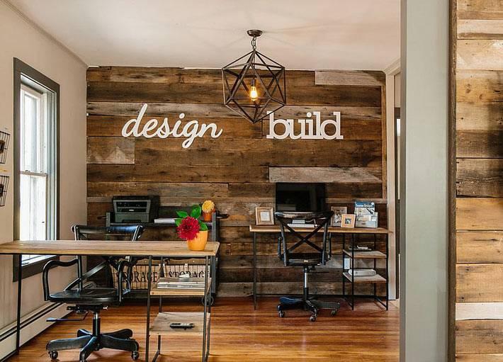 дерево в дизайне интерьера домашнего рабочего кабинета фото