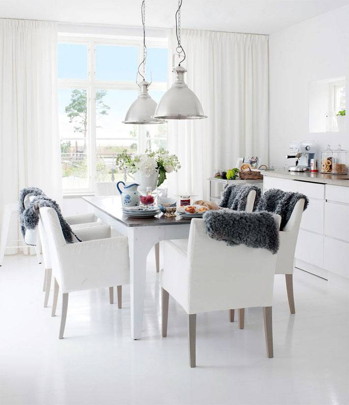 белый цвет в дизайне интерьера столовой комнаты