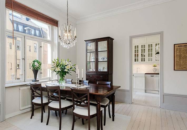красивый интерьер столовой комнаты в скандинавском стиле
