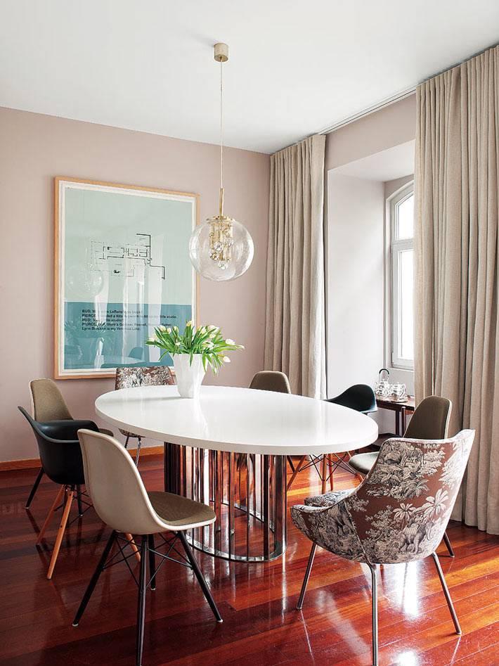 красивый интерьер скандинавской столовой комнаты