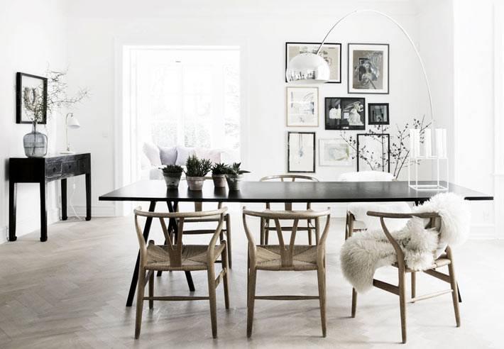 светлый интерьер столовой в скандинавском стиле