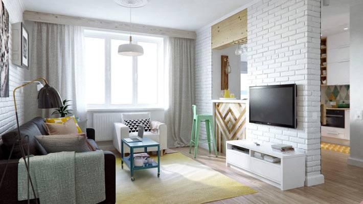 интерьер однокомнатной квартиры-студии