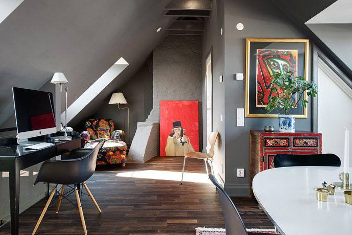 интерьер квартиры на мансардном этаже