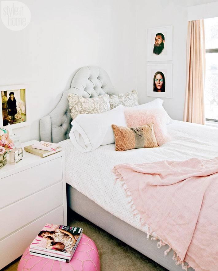 пастельные оттенки в интерьере красивой спальни фото