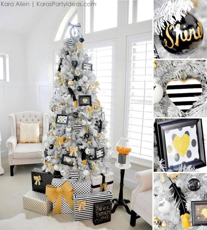 белая новогодняя елка с черными и золотыми украшениями