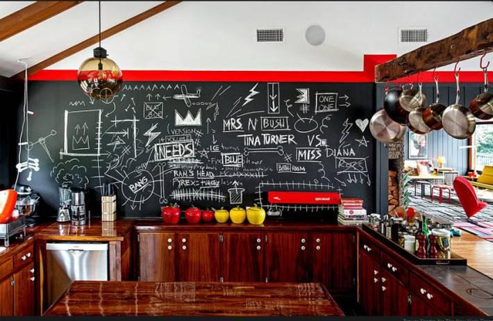 грифельная стена для записей на кухне фото