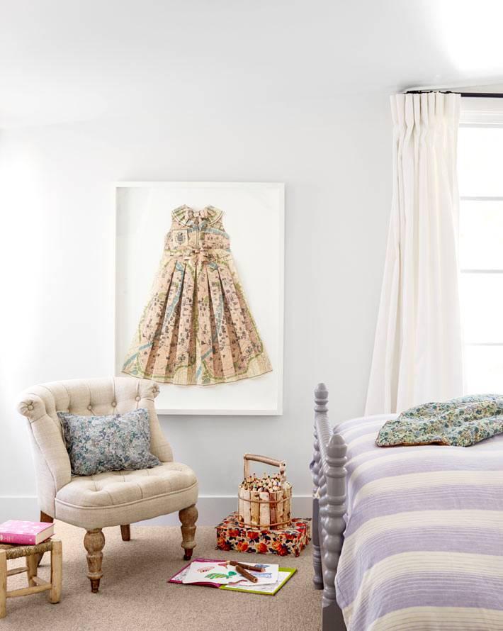 красивый дизайн спальни в летнем доме в Калифорнии