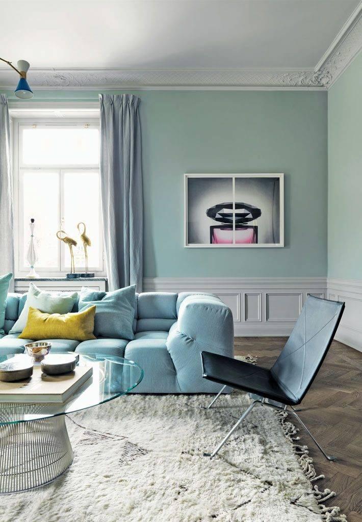 бледно-зеленый цвет в интерьере квартиры
