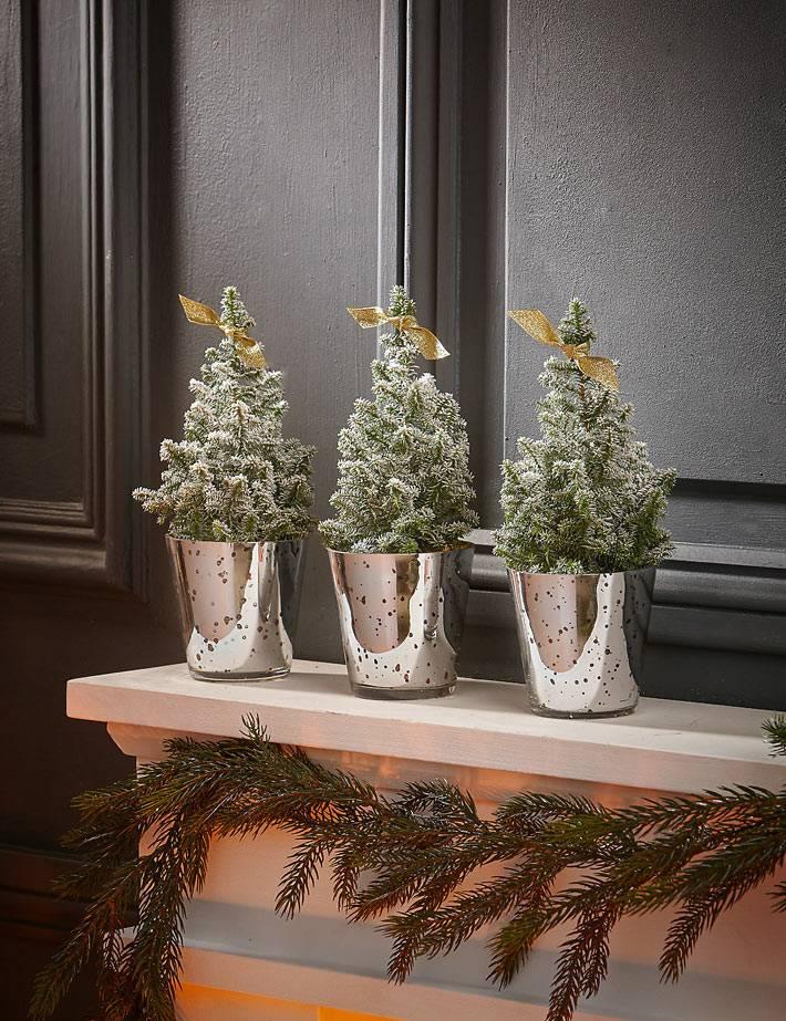 красивые мини-елочки в цветочных горшках на новый год